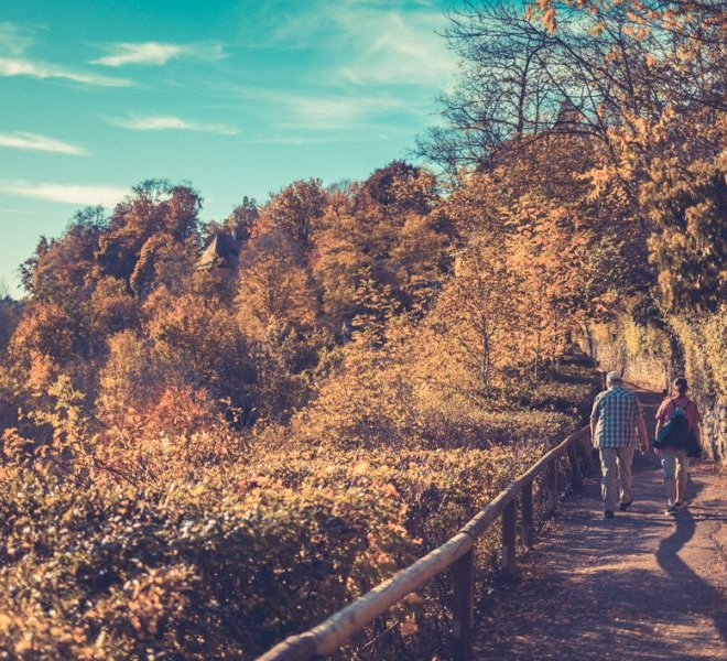 Hiking in Rothenburg ob der Tauber in autumn