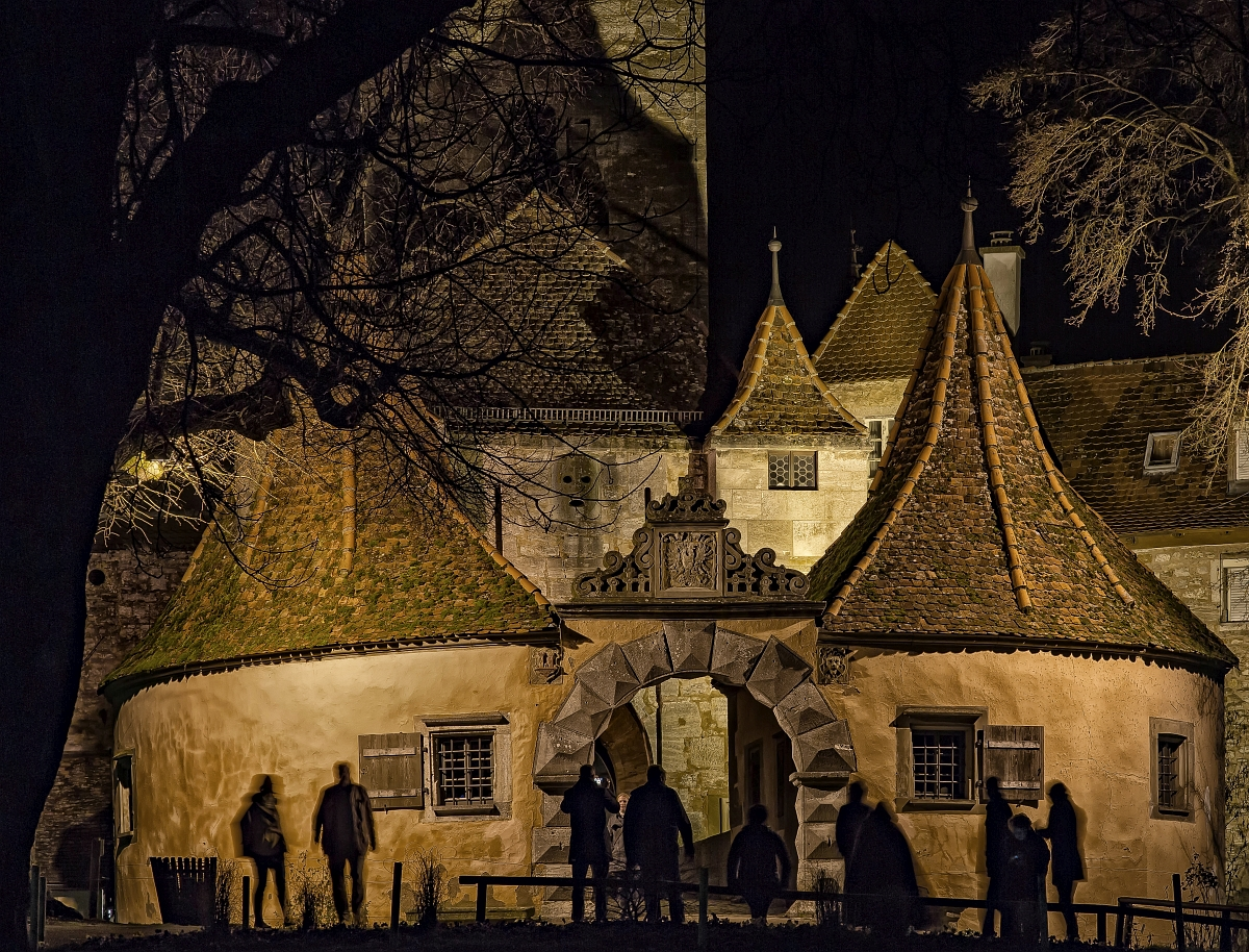 Castle Gate in Rothenburg ob der Tauber at night