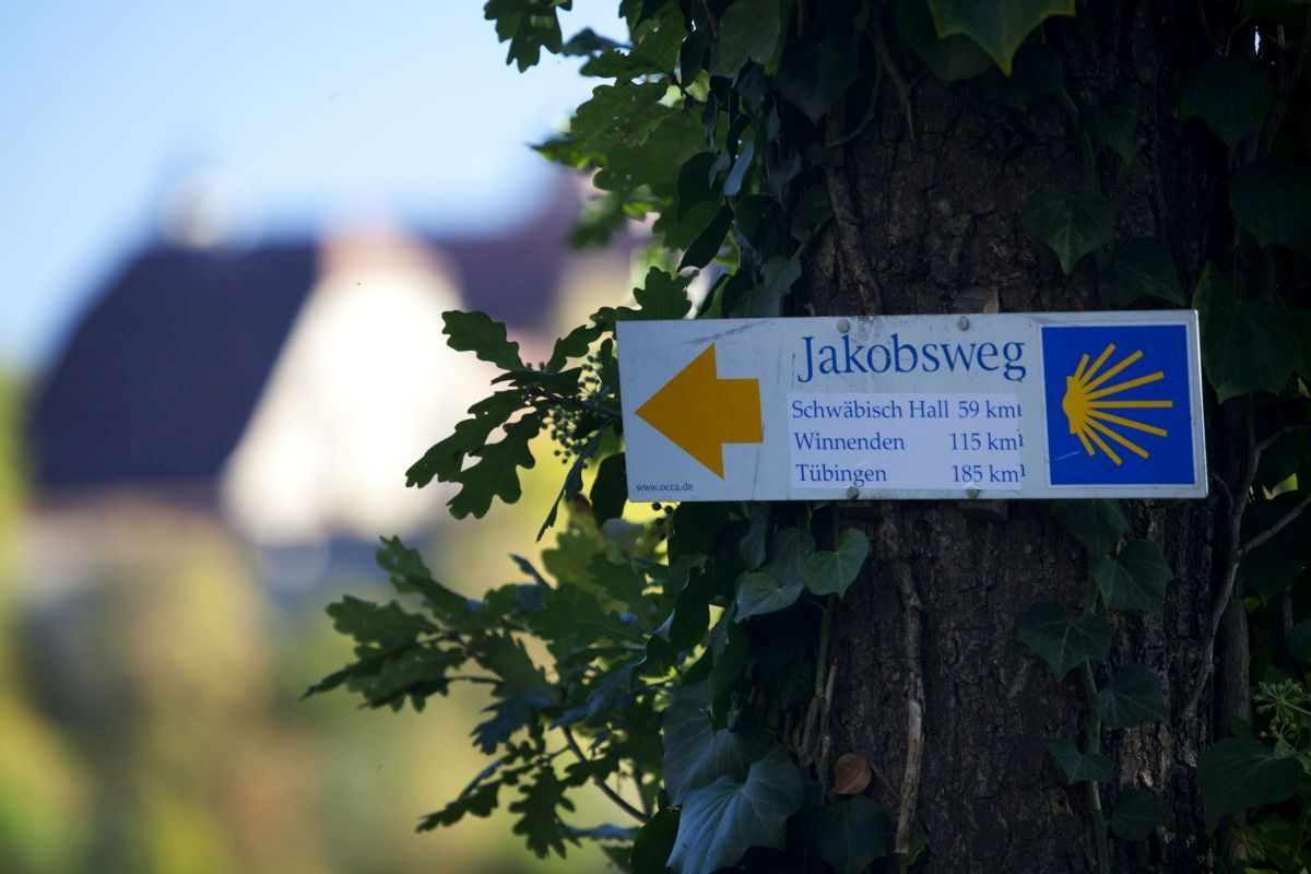 Sign of St James Way near Rothenburg ob der Tauber