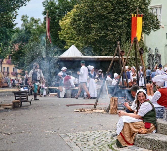 Historical groups during the Imperial City Days in Rothenburg ob der Tauber