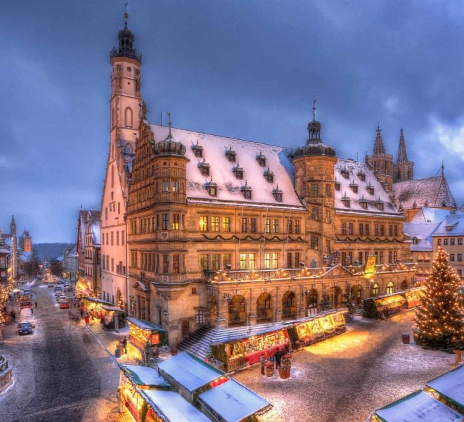 City Hall during Christmas Market of Rothenburg ob der Tauber
