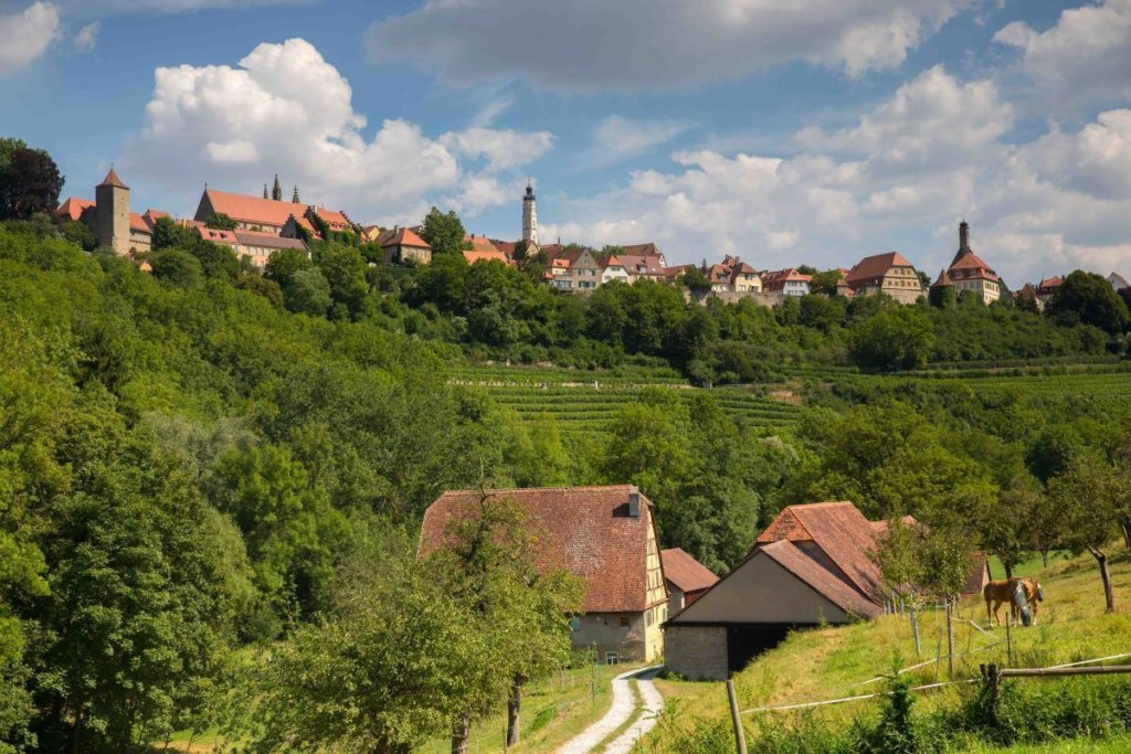 View on Rothenburg ob der Tauber from the Tauber Valley