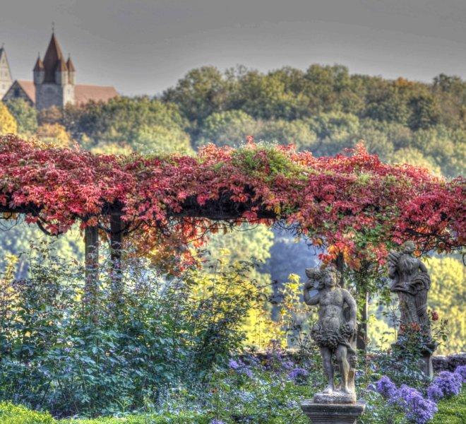 Blick auf das Figurenbeet im Burggarten