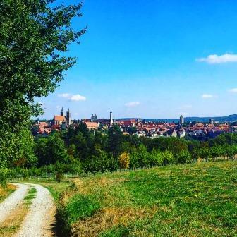 Blick vom Kletterwald auf Rothenburg ob der Tauber